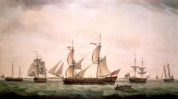 English brig with captured American vessels, Francis Holman (1780)