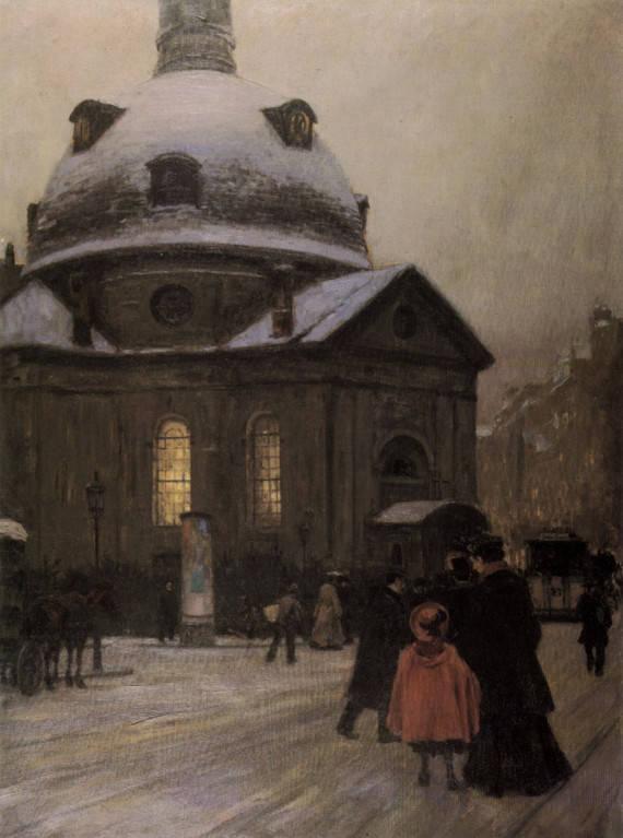 Böhmische Kirche am Heiligen Abend by Franz-Skarbina