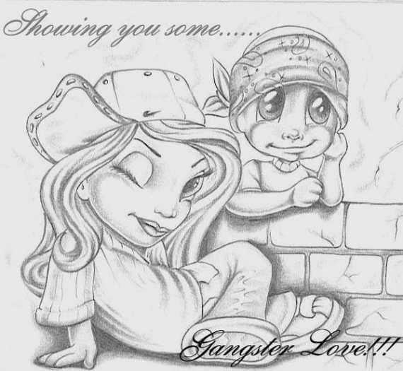 Cartoon Gangster Love Drawings