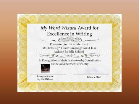 My Word Wizard Award Certificate
