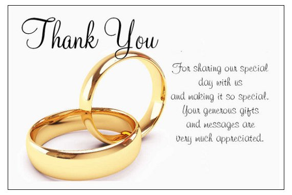 Thank You For A Wedding Gift: Wedding Day Thank You Poems