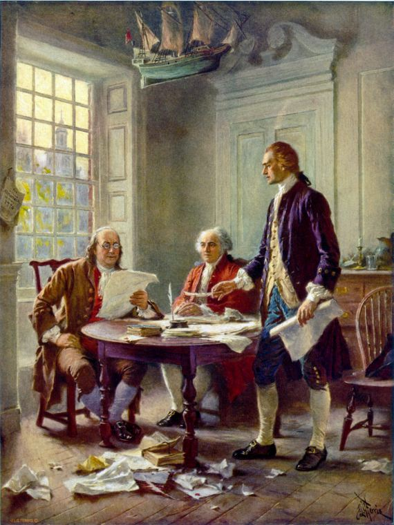 Writing of the Declaration of Independence, 1776 by Jean Leon Gerome Ferris