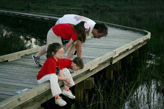 Father and Kids on Dock