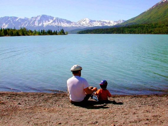 Father and Kid on Lake