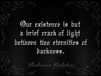 Our existence is a brief crack of light between two eternities of darkness