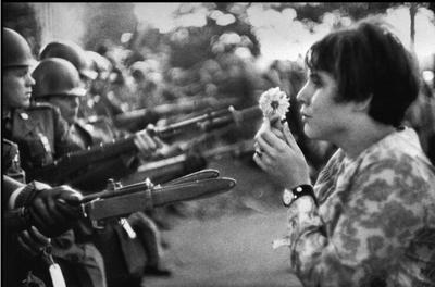 Jan Rose Kasmir confronts the National Guard in a 1967 anti-Vietnam War march