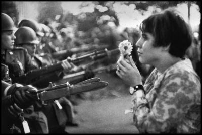 Jan Rose Kasmir confronts the American National Guard outside the Pentagon during the 1967 anti-Vietnam march